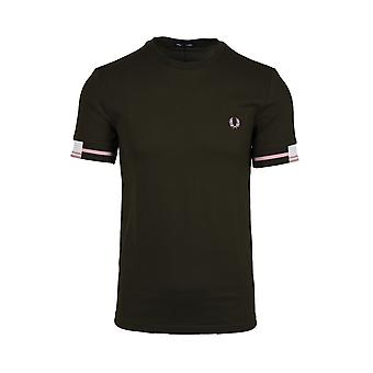 Fred Perry Camiseta abstracta con punta Hunting Green