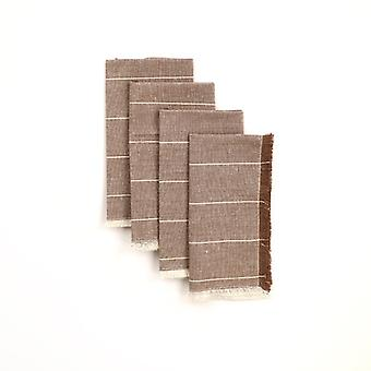Set of Eight Wide Striped Gray Napkins