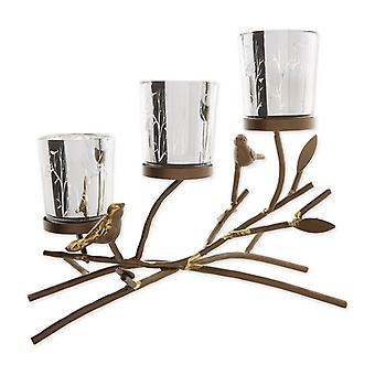 Gallery of Light Birds and Branches Triple Tealight Candle Holder, Pack of 1