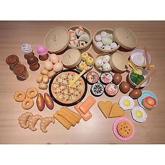 Lanbena Children's Simulation Breakfast Xiaolongbao Kitchen Toys Qiqile Gourmet Pizza Chinese And Western Food