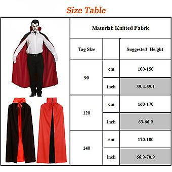 Halloween Black And Red Double-sided Robe Cloak Dressed Up As Dracula Gothic Witch Princess Hat Style