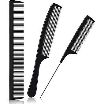 Karbonová vlákna Vlasy tepelně odolné Antistatické kadeřnické hřebeny Jemné široké zuby Kadeřnictví Hřeben Krysa OcasNí Hřeben 3ks