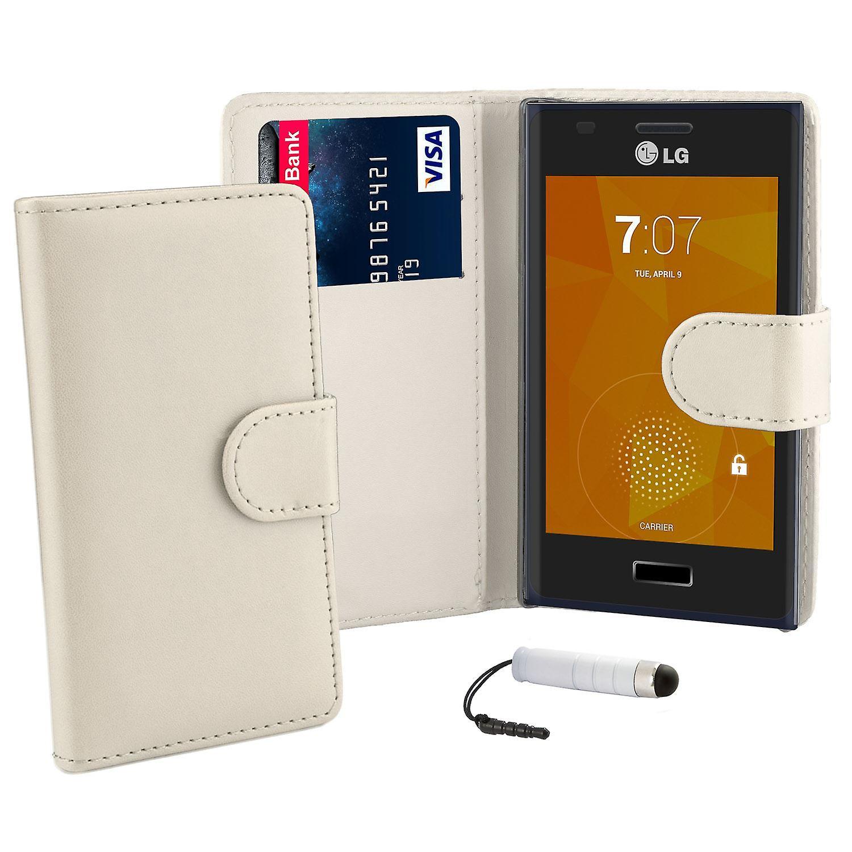 Book wallet case cover for LG Optimus L5ii E460 + stylus - White