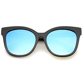 Women's Horn Rimmed Color Mirror Flat Lens Oversize Cat Eye Sunglasses 57mm