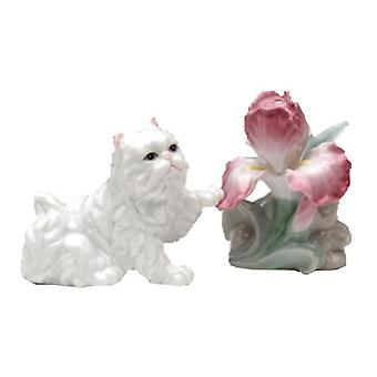 Fluffy White Persian Cat with Bearded Iris Flower Salt and Pepper Shaker Set