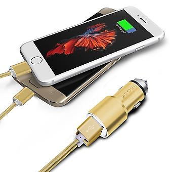 (Gold) Dual Port Aluminium Car Charger Adaptor (3.1A/24W) & 2 x 1 Meter Micro-USB Data Cable For Asus Zenfone 4 Selfie