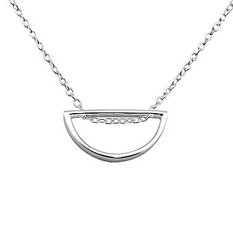 Semi-Circle - 925 Sterling Silver Plain Necklaces - W26271X