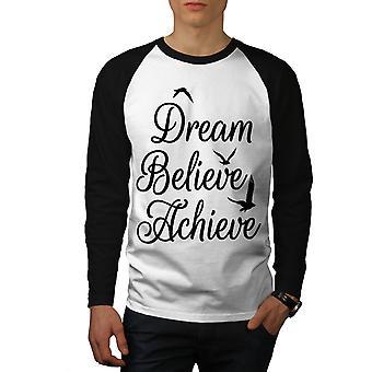 Zu erreichen glauben Männer (schwarze Hülsen) Baseball LS T-shirt weiß | Wellcoda