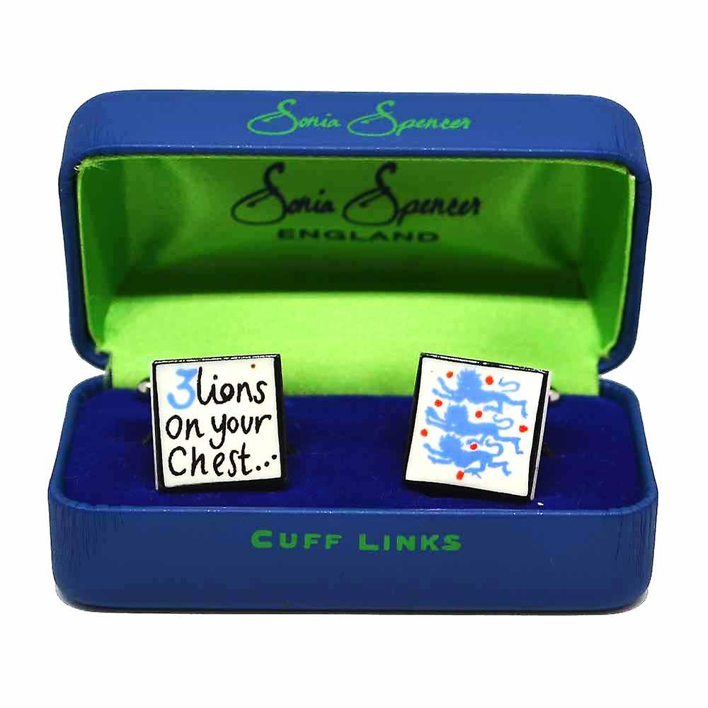 Sonia Spencer 3 Lions on your Chest - Blue Cufflinks - English Bone China Hand Crafted Cuff Links