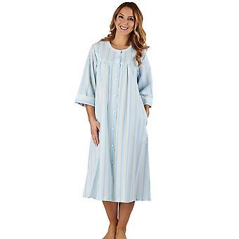 Slenderella HC1226 Women's Stripe Seersucker Blue Dressing Loungewear Bornoz 3/4 Uzunluk Kol Kılıfı Bornoz