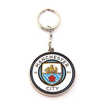 Manchester City FC fútbol Metal Crest llavero
