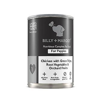 Billy + Margot bagnato cucciolo cane cibo pollo & trippa 395 g x 12 Pack completo