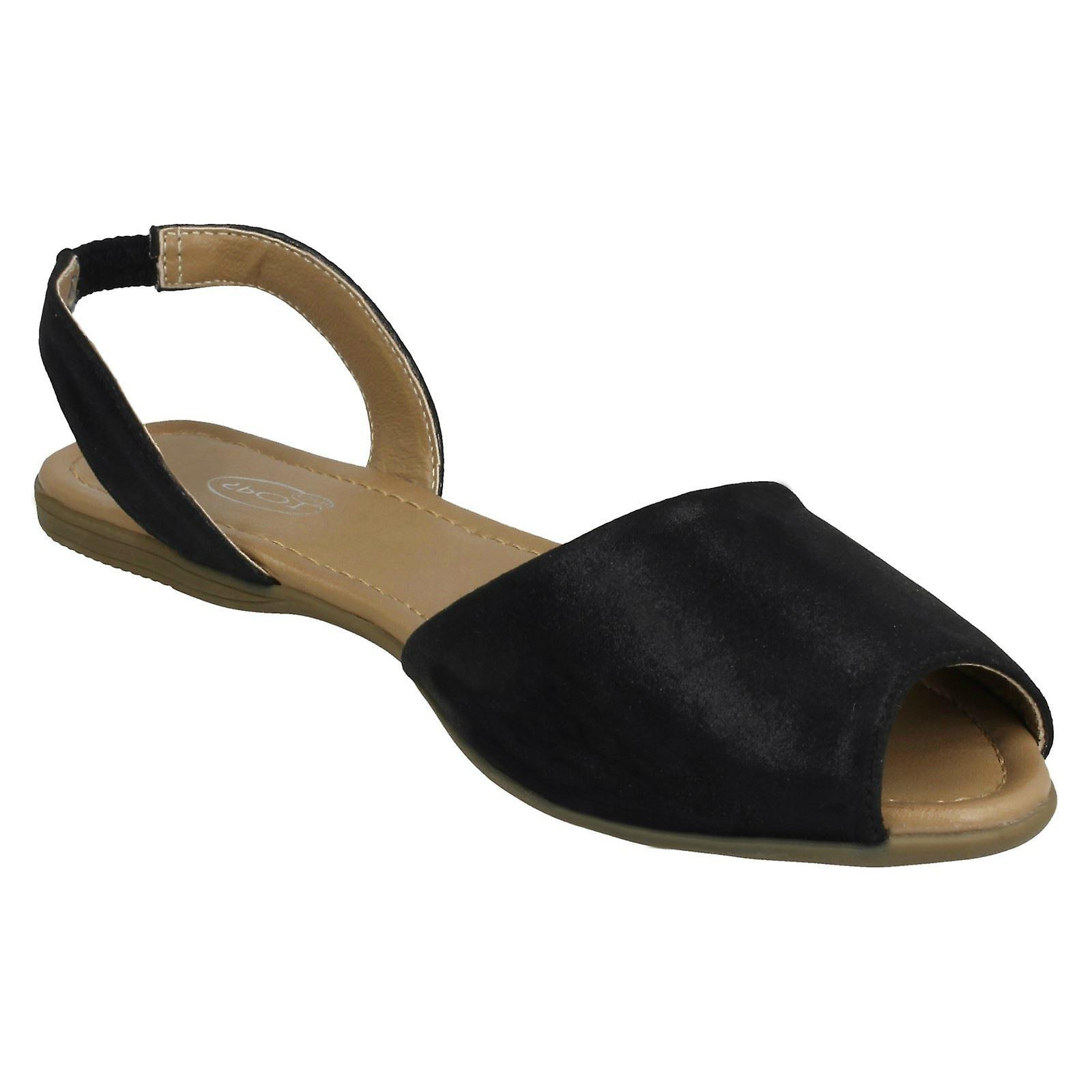 Ladies Spot On Flat Slingback Mule Sandals - Gratis frakt