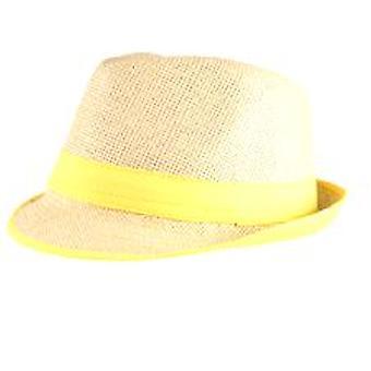 Stro Fedora hoed met Neon geel Trim
