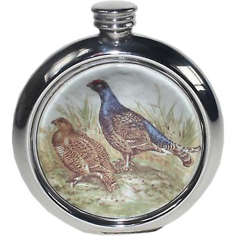6Oz Round Pewter Grouse Picture Flask