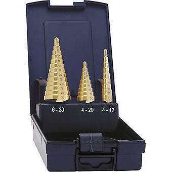 Exact 5351 HSS Step drill bit set 3-piece 4 - 12 mm, 4 - 20 mm, 6 - 30 mm TiN Triangular shank 1 Set