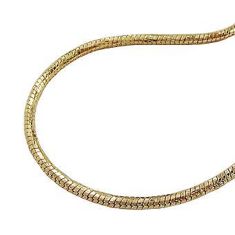 Kette 1,5mm Schlangenkette rund diamantiert vergoldet AMD 70cm