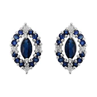 Classic Marquise Sapphire & Diamond Cluster Stud Earrings in 925 Sterling Silver 253E162002925