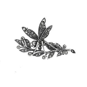 Art Nouveau Style Round Marcasite Wasp Brooch in 925 Sterling Silver 26641