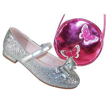 Meninas de prata sapatos brilhantes com saco-de-rosa e prateado