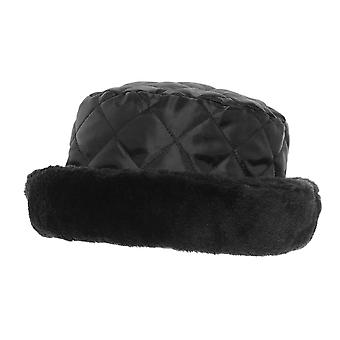 Ladies/Womens Quilted Winter Faux Fur Trim Hat