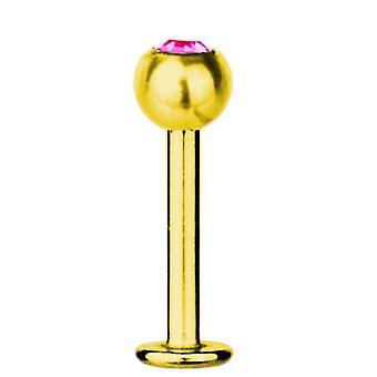 Bar di Labret trago Piercing titanio placcato oro 1.2 mm, SWAROVSKI ELEMENTS rosa | 5-12 mm