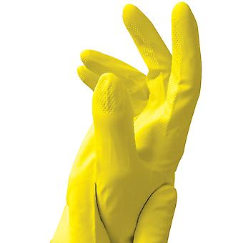 Caring Hands Medium Yellow Latex Rubber Gloves