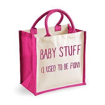 Medium Jute Bag Baby Stuff I Used To Be Fun Pink
