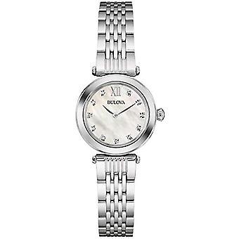 Projeto de aço 96W206 inoxidável Bulova Diamond Watch, feminino, mãe de Pearl Dial