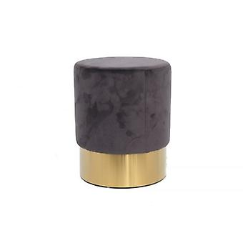 35x42 Grey Velvet Stool With Gold Base Leg Rest