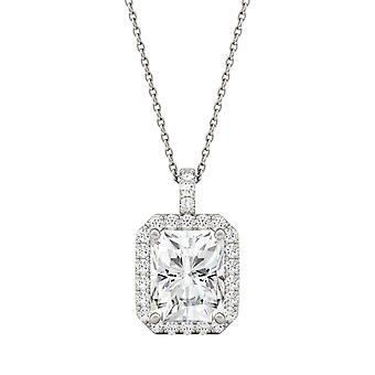 14K White Gold Moissanite by Charles & Colvard 10x8mm Radiant Pendant Necklace, 4.29cttw DEW