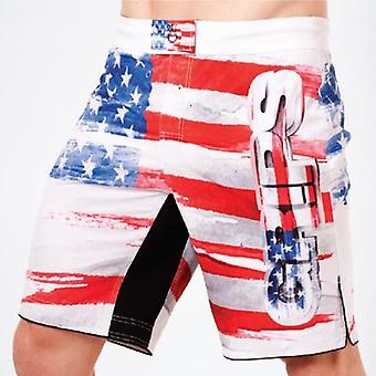 Kahvat yleisurheilu Mens Americano Fight shortsit-valkoinen