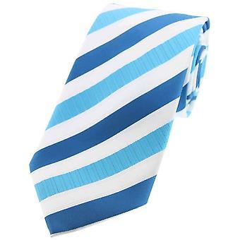 David Van Hagen Striped Tie Polyester - Cyan/blanc