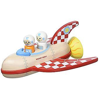 Indigo Jamm Rocket Ricky Wooden Toy Space Ship - Complete With 2 Wooden Spacemen - 18 months plus