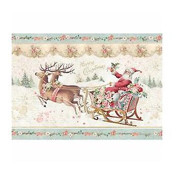 Stamperia Rice Paper A4 Pink Christmas Santa Claus with Sledge (DFSA4318)