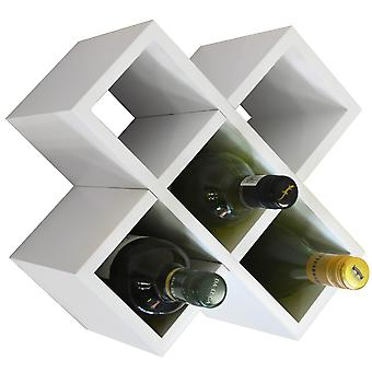 Cross - 6 Bottle Wall Mounted / Free Standing Wine Storage Rack - White