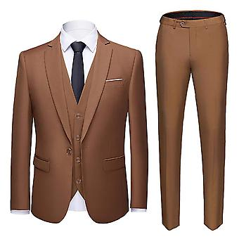 Allthemen Men's Suit 3-Pieces Cotton Business Casual Suit Jacket&Pants&Vest