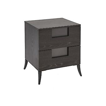Gillmore Space Slim Bedside Chest In Dark Charcoal Wood With Gun Metal Legs