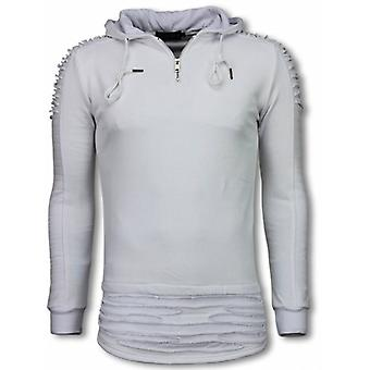 Ripped Shoulder-Long Fit Hoodie-White