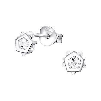 Pentagon Star - 925 Sterling Silver Cubic Zirconia Ear Studs - W33000X