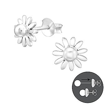 Flower - 925 Sterling Silver Ear jackets & double earrings - W38952X