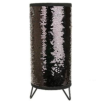 Modern Designer Black and Silver Shiny Sequin Table Lamp with Tripod Metal Feet