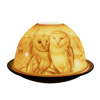 Light-Glow Barn Owls Lithophane Dome Tealight Candle Holder