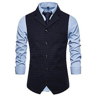 Allthemen miesten ' s ruudullinen Lapel yksirivinen Business rento puku liivi