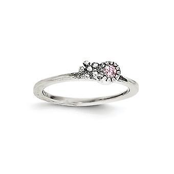 925 Sterling Silber rosa CZ Zirkonia simuliert Diamant Blume Kinder Ring Schmuck Geschenke für Frauen - Ring Größe: 3 bis