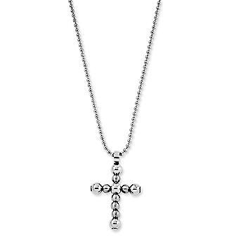 Croce in acciaio inox spazzolato lucido aragosta fantasia chiusura collana - 22 pollici