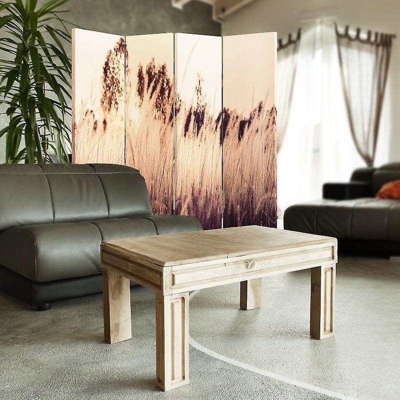 Diviseur de chambre, 4 panneaux, double-sided, 360 rotatable, toile, haute herbe