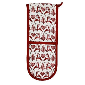 Dexam Yuletide Double Oven Glove, Red on Cream