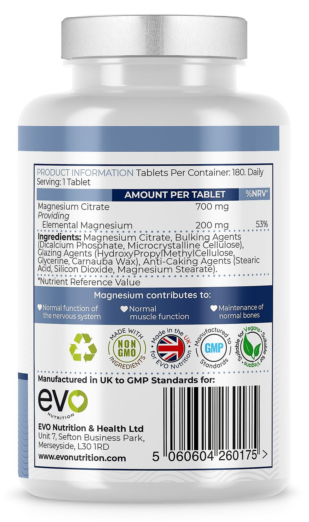Magnesium Citrate (180 Tablets) 200mg Elemental Magnesium - Evo Nutrition