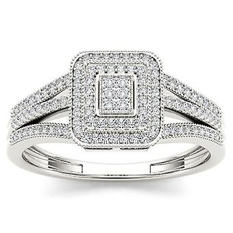 IGI Certified 10k White Gold 0.15 Ct Diamond Split Shank Halo Engagement Ring